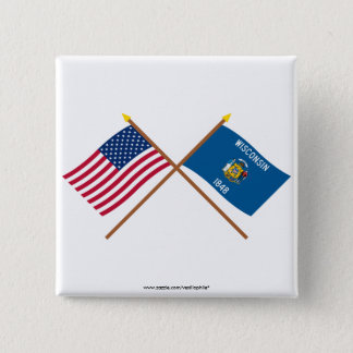 US and Wisconsin Crossed Flags Button