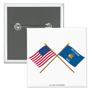 US and Wisconsin Crossed Flags 2 Inch Square Button