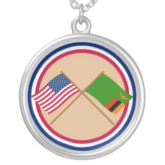 US and Zambia Crossed Flags Pendants
