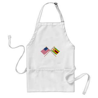 US and Zimbabwe Crossed Flags Aprons