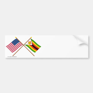 US and Zimbabwe Crossed Flags Bumper Sticker