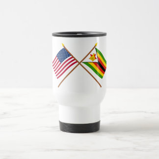 US and Zimbabwe Crossed Flags Travel Mug