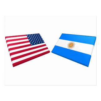 US & Argentina Flags Postcard