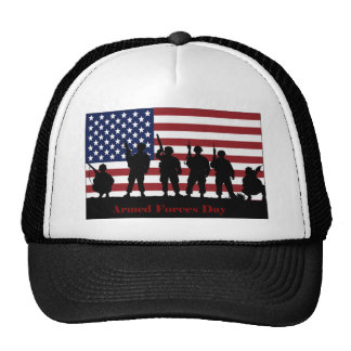 US Armed Forces Day American Flag with Soldiers Trucker Hat