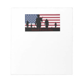 US Armed Forces Day American Flag with Soldiers Notepad