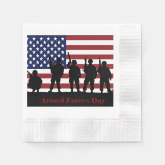 US Armed Forces Day American Flag with Soldiers Paper Napkins