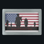 """US Armed Forces Day American Flag with Soldiers Rectangular Belt Buckle<br><div class=""""desc"""">Celebrate the sacrifice and bravery of the military on Armed Forces Day. The hard working men and women of the Army, Air Force, Navy, and Marines deserve recognition and support for their dedication and commitment. This customizable design features a group of five American soldiers in silhouette with a red, white,...</div>"""