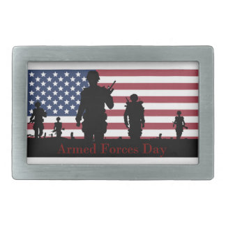 US Armed Forces Day American Flag with Soldiers Rectangular Belt Buckle