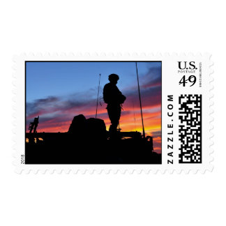 US Army Soldier Silhouetted at Sunset Postage Stamp