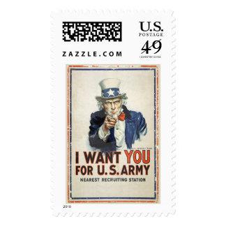 US Army Uncle Sam I Want You WWI Propaganda Postage