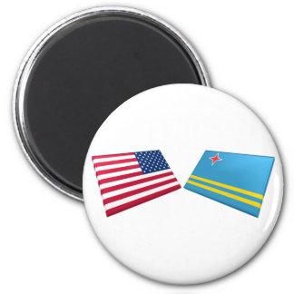 US & Aruba Flags Fridge Magnet