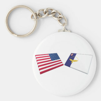 US & Azores Flags Keychain