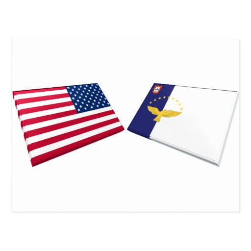 US & Azores Flags Postcard