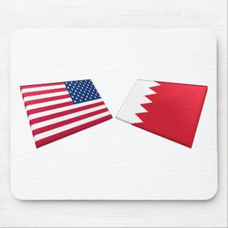 US & Bahrain Flags Mouse Pad
