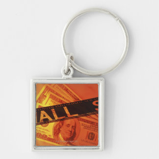 US banknotes, CG, composition Silver-Colored Square Keychain