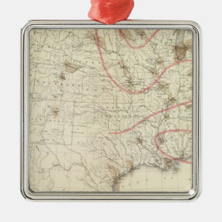 US Barometer Square Metal Christmas Ornament