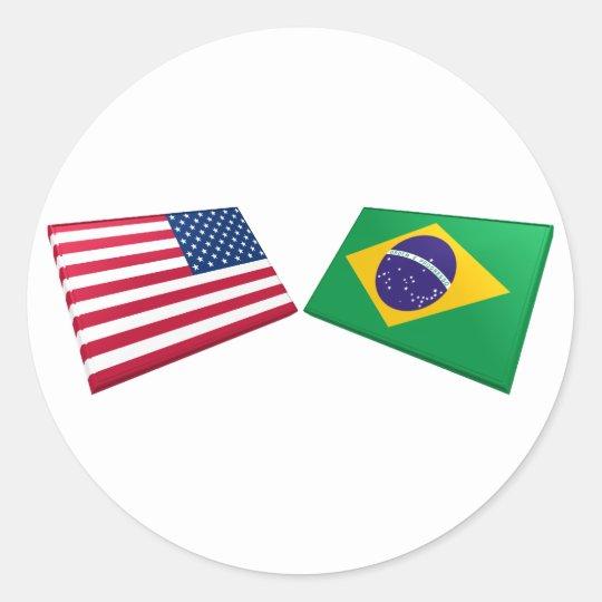 US & Brazil Flags Classic Round Sticker