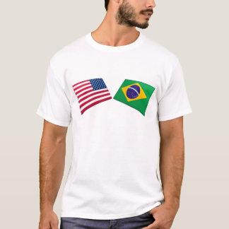 US & Brazil Flags T-Shirt