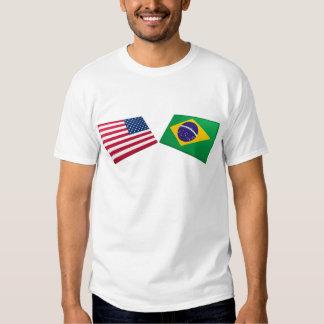 US & Brazil Flags Tshirt