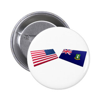 US & British Virgin Islands Flags Buttons