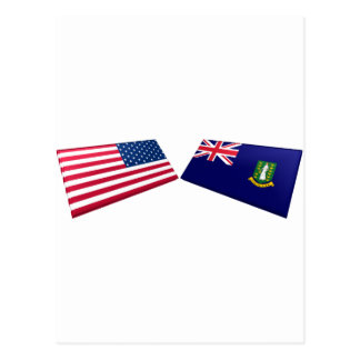 US & British Virgin Islands Flags Postcard