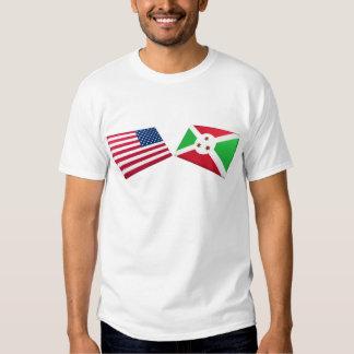 US & Burundi Flags Tee Shirt
