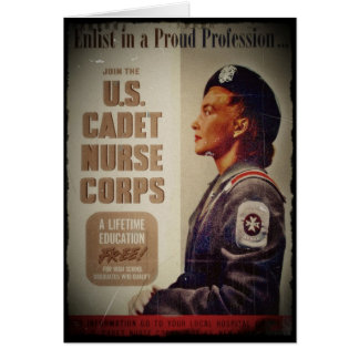 US Cadet Nurse in Baret Card