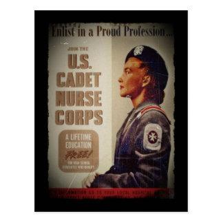 US Cadet Nurse in Baret Postcard