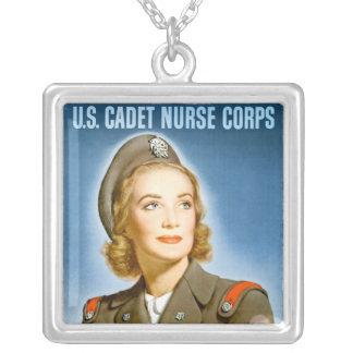 US Cadet Nurse Square Sterling Silver Necklace