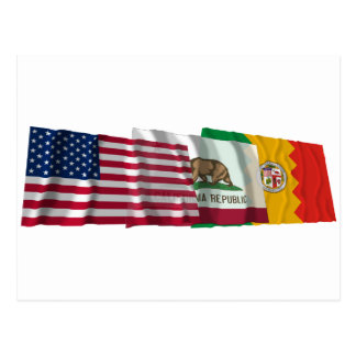 US, California and Los Angeles Flags Postcard