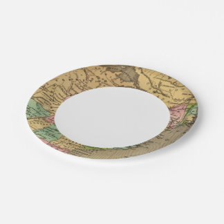 US, Canada Hand Colored Atlas Map Paper Plate