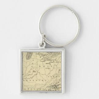 US, Canada Silver-Colored Square Keychain