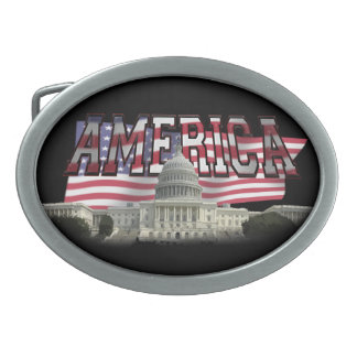 US Capital Building Us Flag Belt Buckle