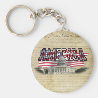 US Capital Building Us Flag Key Chain