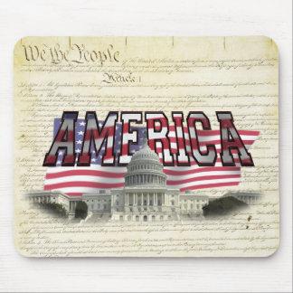 US Capital Building Us Flag Mouse Pad