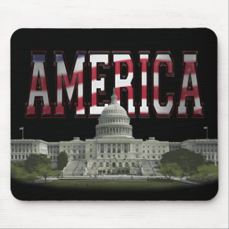 US Capital Building Us Flag Mouse Pad