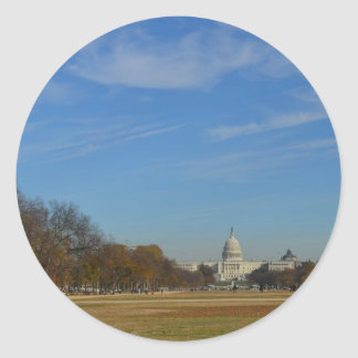 US Capitol across the Mall in Fall Classic Round Sticker