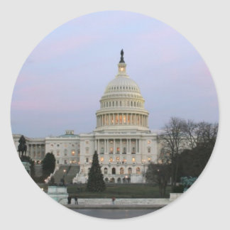 US Capitol at winter dusk Classic Round Sticker