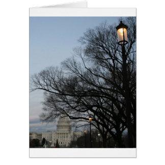 US Capitol at winter dusk photo Card