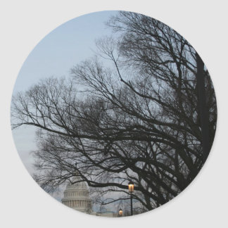 US Capitol at winter dusk photo Classic Round Sticker