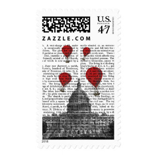 US Capitol Building and Red Hot Air Balloons Postage Stamp
