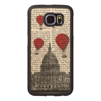 US Capitol Building and Red Hot Air Balloons Wood Phone Case