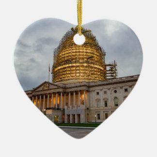 US Capitol Building at Dusk Ceramic Ornament