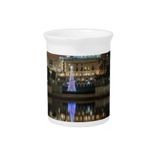 US Capitol Building at Night Beverage Pitcher