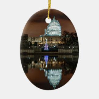 US Capitol Building at Night Ceramic Ornament