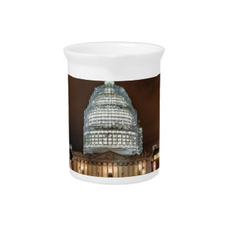 US Capitol Building at Night Drink Pitcher