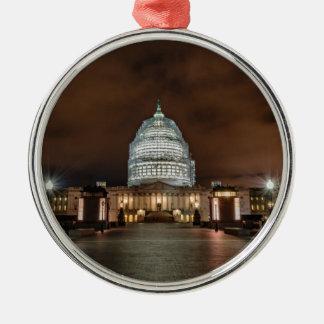 US Capitol Building at Night Metal Ornament