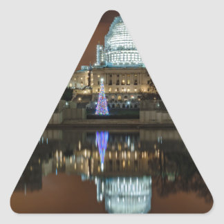 US Capitol Building at Night Triangle Sticker