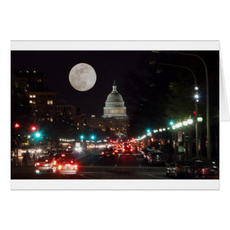 US Capitol Building at night with full moon Card