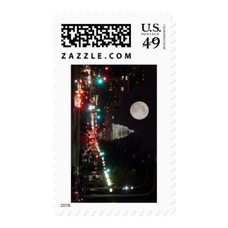 US Capitol Building at night with full moon Stamp